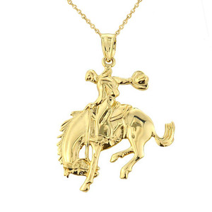 Solid Yellow Gold Rodeo Cowboy on Horse Charm Pendant
