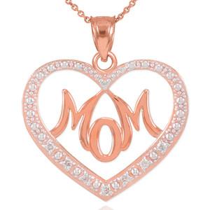 "14K Rose Gold Diamond Studded ""Mom"" Heart Pendant Necklace"