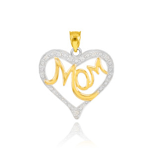 """14K Two-Tone Gold Diamond Studded """"Mom"""" Heart Pendant Necklace"""