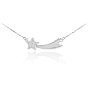 Sterling Silver Shooting Star CZ Necklace