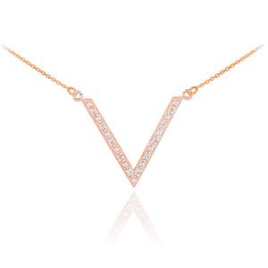 Rose gold diamond pave V necklace.