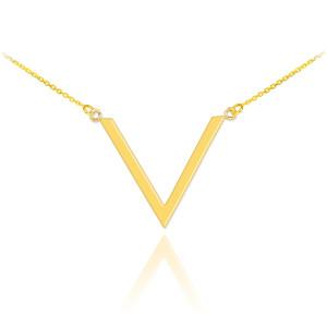 14K Polished Gold V Necklace