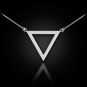 14K Polished White Gold Triangle Necklace