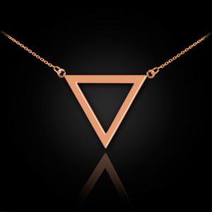 14K Polished Rose Gold Triangle Necklace