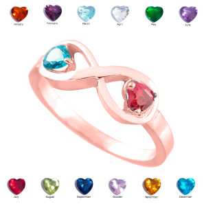 Rose Gold Dual Heart CZ Birthstone Infinity Ring