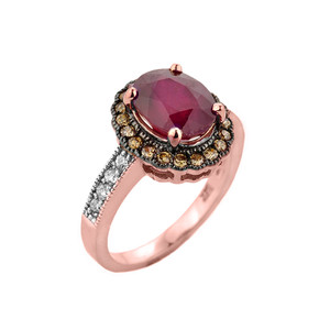 Rose Gold Ruby and Diamond Engagement Ring