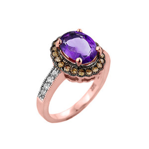 Rose Gold Amethyst and Diamond Engagement Ring