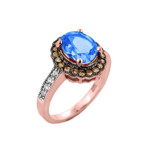 Rose Gold Blue Topaz and Diamond Engagement Ring