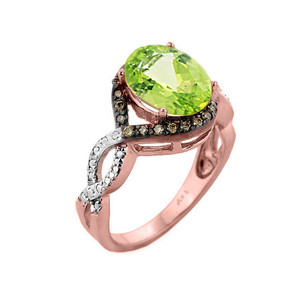 Rose Gold Peridot and Champagne Color Diamond Infinity Engagement Ring