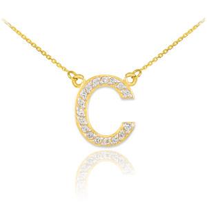 "14k Gold Letter ""C"" Diamond Initial Necklace"