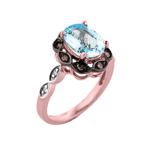 Rose Gold Aquamarine and Diamond Proposal Ring