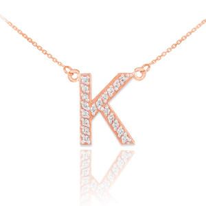 "14k Rose Gold Letter ""K"" Diamond Initial Necklace"