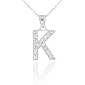 "White Gold Letter ""K"" Diamond Initial Pendant Necklace"