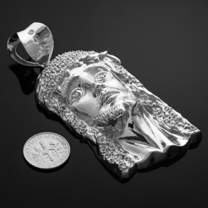 Iced White Gold Jesus Face Men's Large CZ Pendant