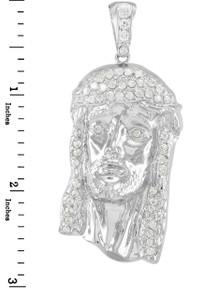 White Gold Jesus Face Men's CZ Pendant