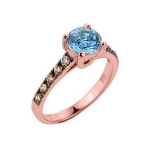 Rose Gold Blue Topaz and Diamond Solitaire Proposal Ring