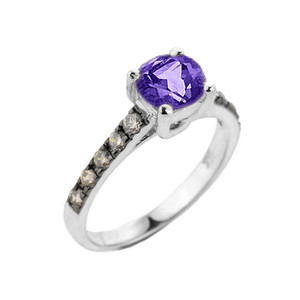 White Gold Amethyst and Diamond Solitaire Ring