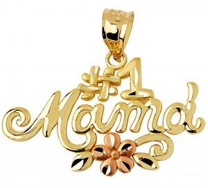 #1 Mama pendant in two-tone yellow and rose gold.