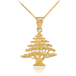 Yellow Gold Cedar Tree of Lebanon Charm Pendant Necklace