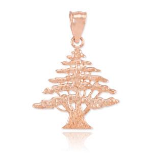 Rose Gold Cedar Tree of Lebanon Charm Pendant Necklace
