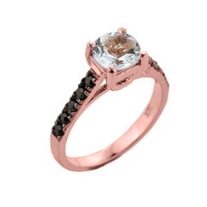 Rose Gold Aquamarine and Black Diamond Solitaire Engagement Ring