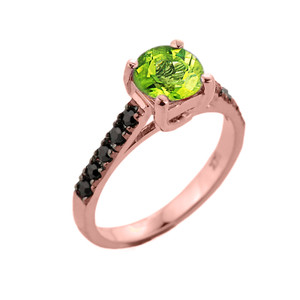 Rose Gold Peridot and Black Diamond Solitaire Engagement Ring