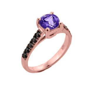 Rose Gold Amethyst and Black Diamond Solitaire Engagement Ring