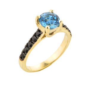 Yellow Gold Blue Topaz and Black Diamond Solitaire Engagement Ring