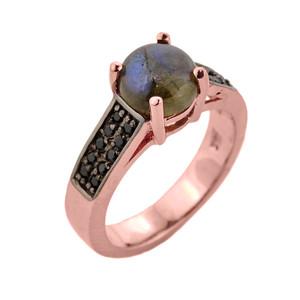 Rose Gold Labradorite and Black Diamond Ring