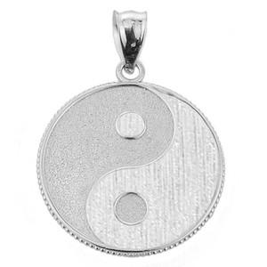 White Gold Yin and Yang Taoist Symbol Charm Pendant