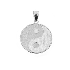 Sterling Silver Yin and Yang Taoist Symbol Charm Pendant Necklace