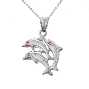 White Gold Flying Dolphins Charm Pendant