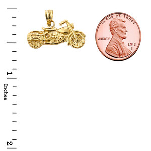 Yellow Gold Motorcycle Charm Pendant Necklace