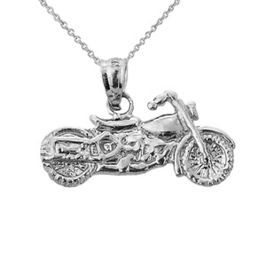 White Gold Motorcycle Charm Pendant Necklace