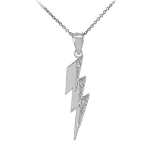 Sterling Silver Thunderbolt CZ Pendant Necklace
