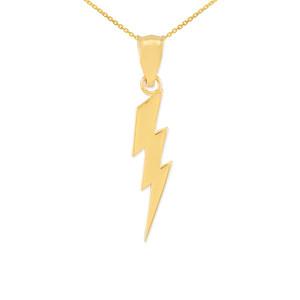 Yellow Gold Thunderbolt Charm Pendant Necklace