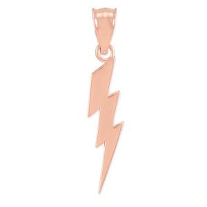 Rose Gold Thunderbolt Charm Pendant. Polished finish.