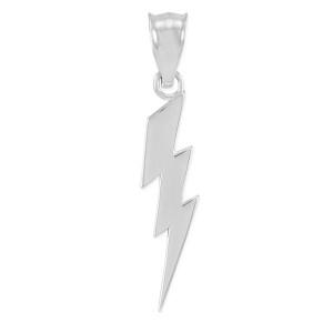 White Gold Thunderbolt Charm Pendant. Polished finish.