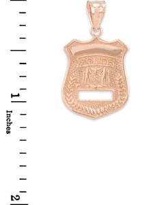 Rose Gold Police Badge Charm Pendant Necklace