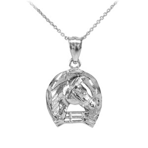 White Gold Horseshoe with Horse Head Charm Pendant Necklace