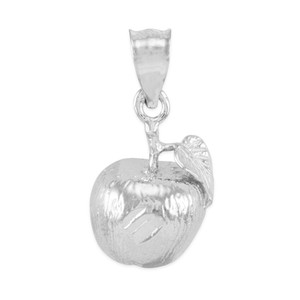 White Gold Apple Charm Pendant Necklace