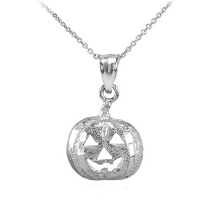Sterling Silver Pumpkin Head Charm Pendant Necklace