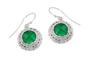 Sterling Silver Checkerboard Cut Green Agate Earrings