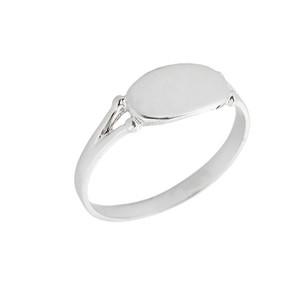 White Gold Engravable Signet Ring