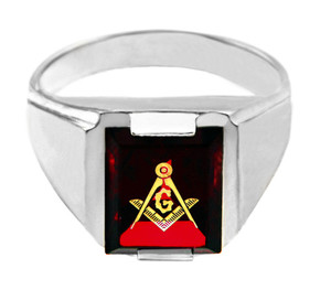 White Gold Freemason Red Stone Square & Compass Masonic Mens Ring