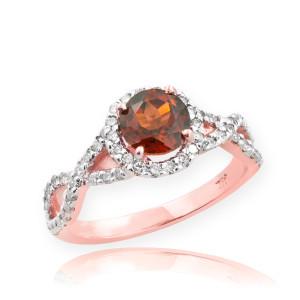 Rose Gold Garnet Birthstone Infinity Ring with Diamonds