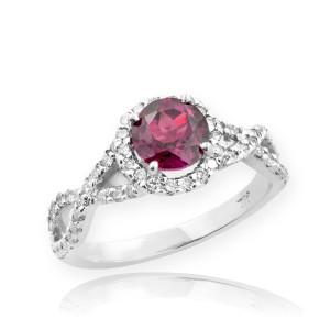 White Gold Alexandrite Birthstone Infinity Ring with Diamonds