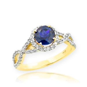 Gold Sapphire Birthstone Infinity Ring with Diamonds