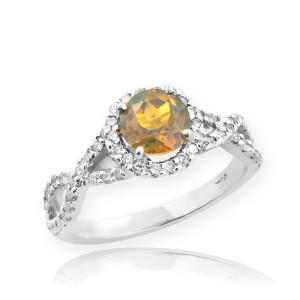 White Gold Citrine Birthstone Infinity Ring with Diamonds