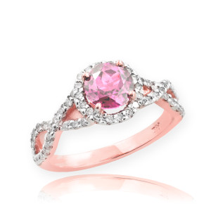Rose Gold Pink Topaz Infinity Ring with Diamonds